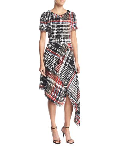 Round-Neck Asymmetric Plaid Tweed Dress