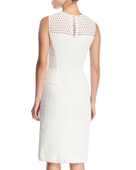 Sleeveless Eyelet Sheath Dress