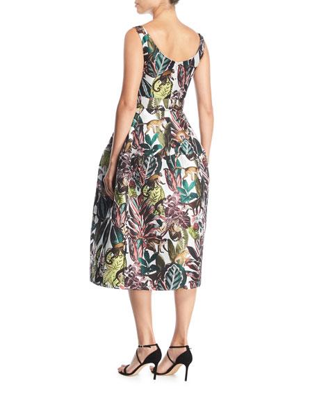 Scoop-Neck Sleeveless Jungle & Monkey-Print Tea-Length Dress