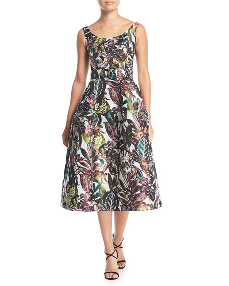 Oscar de la Renta Scoop-Neck Sleeveless Jungle &