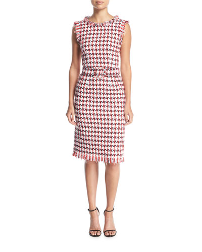 Sleeveless Belted Houndstooth Wool Sheath Dress