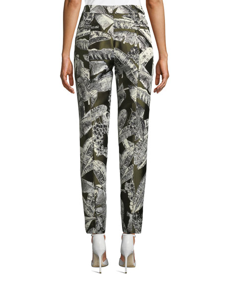 Palm-Print Skinny-Leg Pants