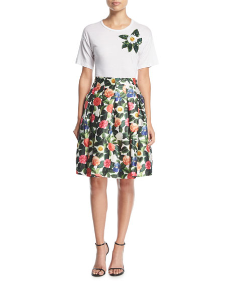 Floral-Print Pleated Full Party Skirt
