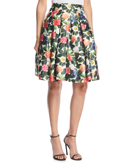 Oscar de la Renta Floral-Print Pleated Full Party