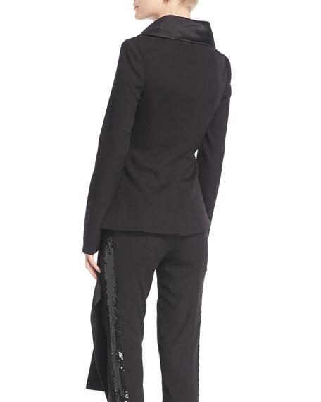 Long-Sleeve Asymmetric Wrap Stretch-Wool Jacket