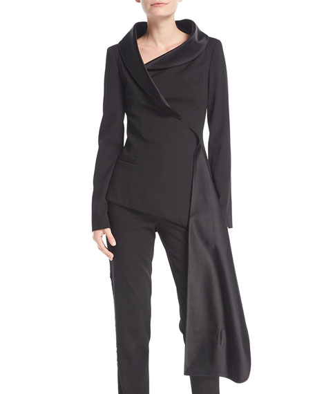 Oscar de la Renta Long-Sleeve Asymmetric Wrap Stretch-Wool