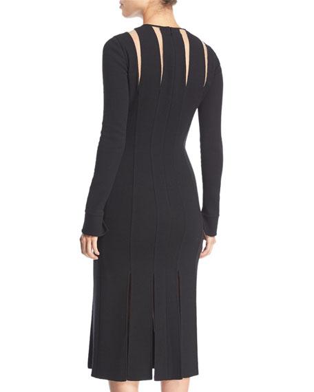Long-Sleeve Cutout Wool Knit Midi Cocktail Dress w/ Carwash Hem