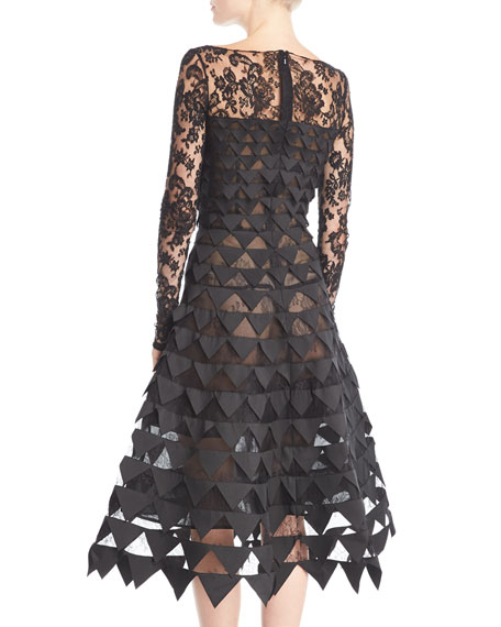 Long-Sleeve Floral-Lace Geometric-Cutouts Illusion Cocktail Dress