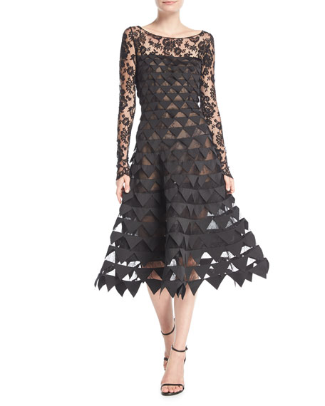 Oscar de la Renta Long-Sleeve Floral-Lace Geometric-Cutouts