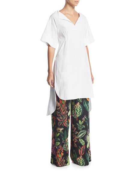 Jungle-Print Wide-Leg Silk Pants