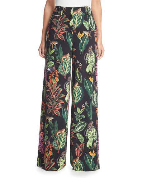 Oscar de la Renta Jungle-Print Wide-Leg Silk Pants