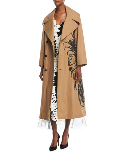 Fern-Embroidered Trenchcoat