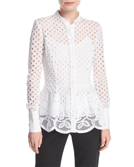 Stand-Collar Button-Front Eyelet Peplum Blouse