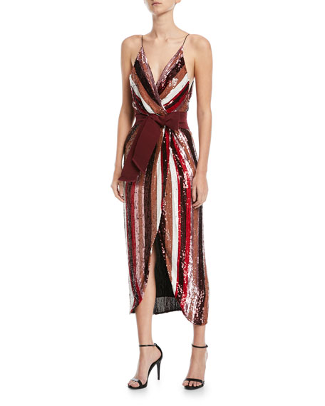 Johanna Ortiz Striped-Sequin Camisole Cocktail Dress