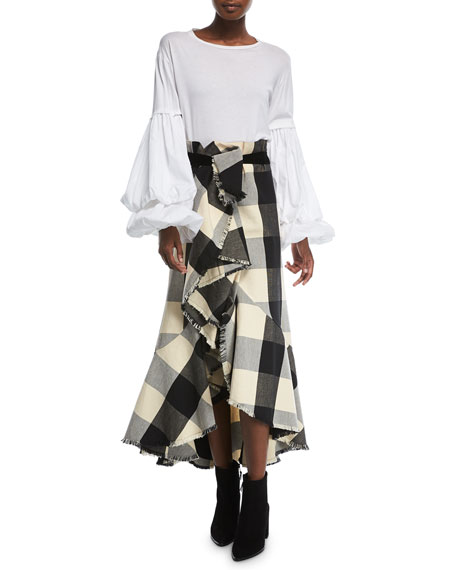 Texan Garden Plaid Asymmetric Tiered Ruffled Canvas Skirt
