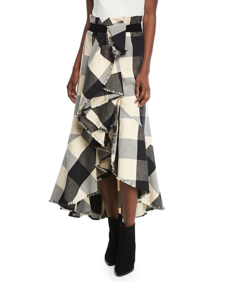 Johanna Ortiz Texan Garden Plaid Asymmetric Tiered Ruffled