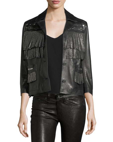 Nour Hammour Vista Studded Fringe Leather Jacket