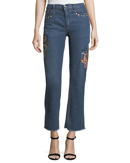 Etro High-Rise Straight-Leg Jeans w/ Embroidery & Studded