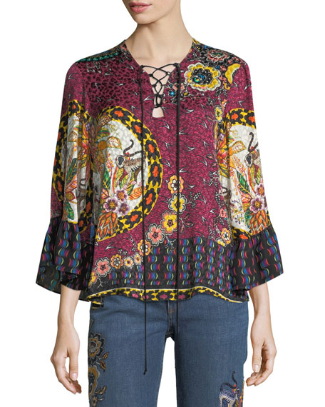 Etro Jungle Floral-Print Silk Lace-Up Blouse