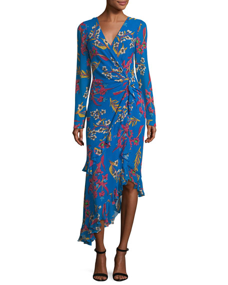 Etro Floral-Print Silk Wrap Midi Dress