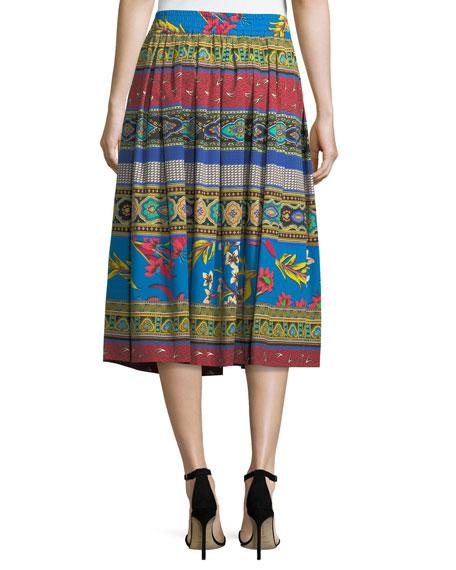 Ribbon Floral-Print Cotton Midi Skirt