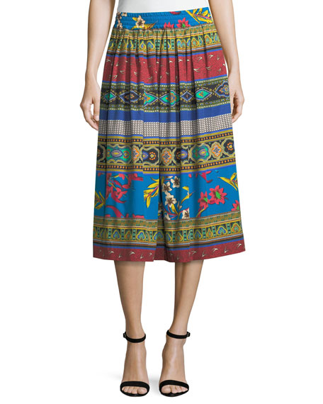 Ribbon Floral-Print Cotton Midi Skirt