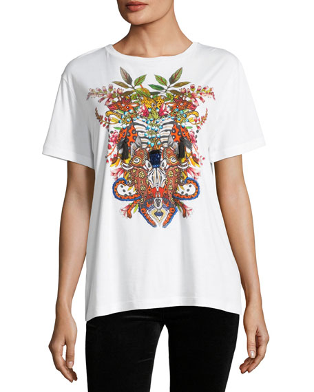Embroidered Jungle Graphic T-Shirt with Tassels