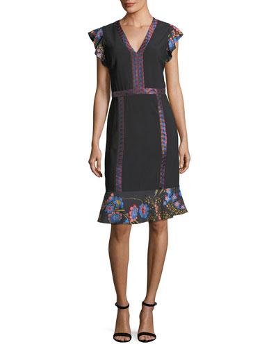 Flutter-Sleeve Combo Dress