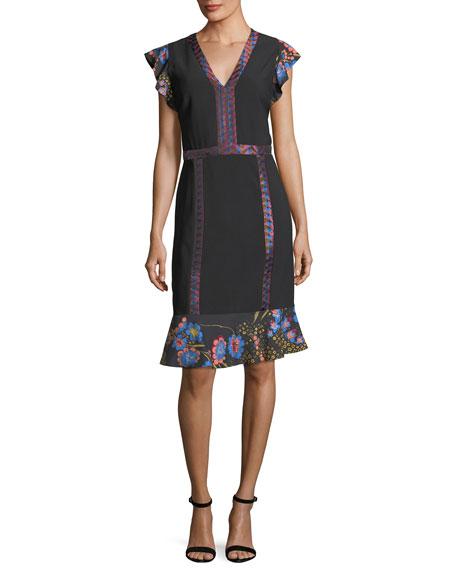 Etro Flutter-Sleeve Combo Dress