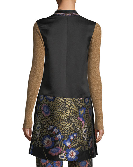 Floral-Embroidered Open-Front Silk Faille Long Vest