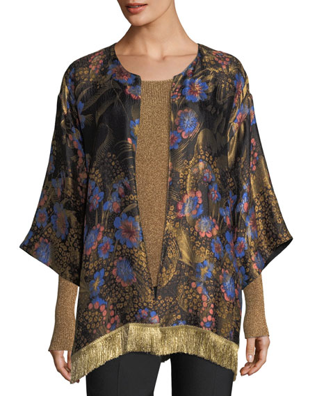Etro Long-Sleeve Scoop-Neck Metallic Rib-Knit Top and Matching