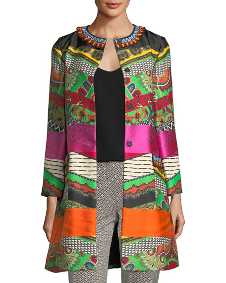Etro Embroidered Ribbon Floral-Print Car Coat