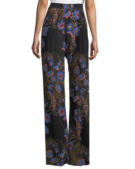 Wide-Leg High-Waist Floral-Print Silk Pants