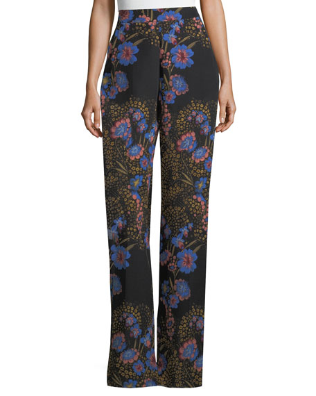 Wide-Leg High-Waist Floral-Print Silk Pants