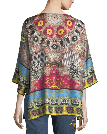 Open-Front Tribal-Print Reversible Jacket