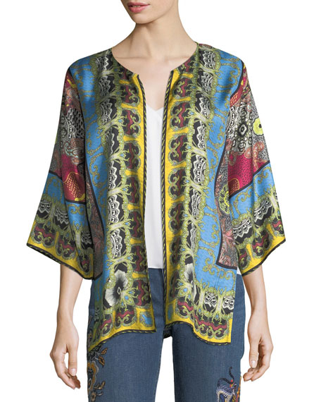 Open-Front Tribal-Print Reversible Jacket
