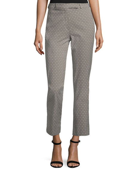 Etro Geometric-Print Cropped Straight-Leg Pants