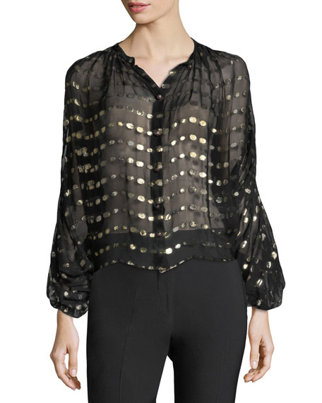 Blouson-Sleeves Sheer Georgette Blouse w/ Metallic Dots