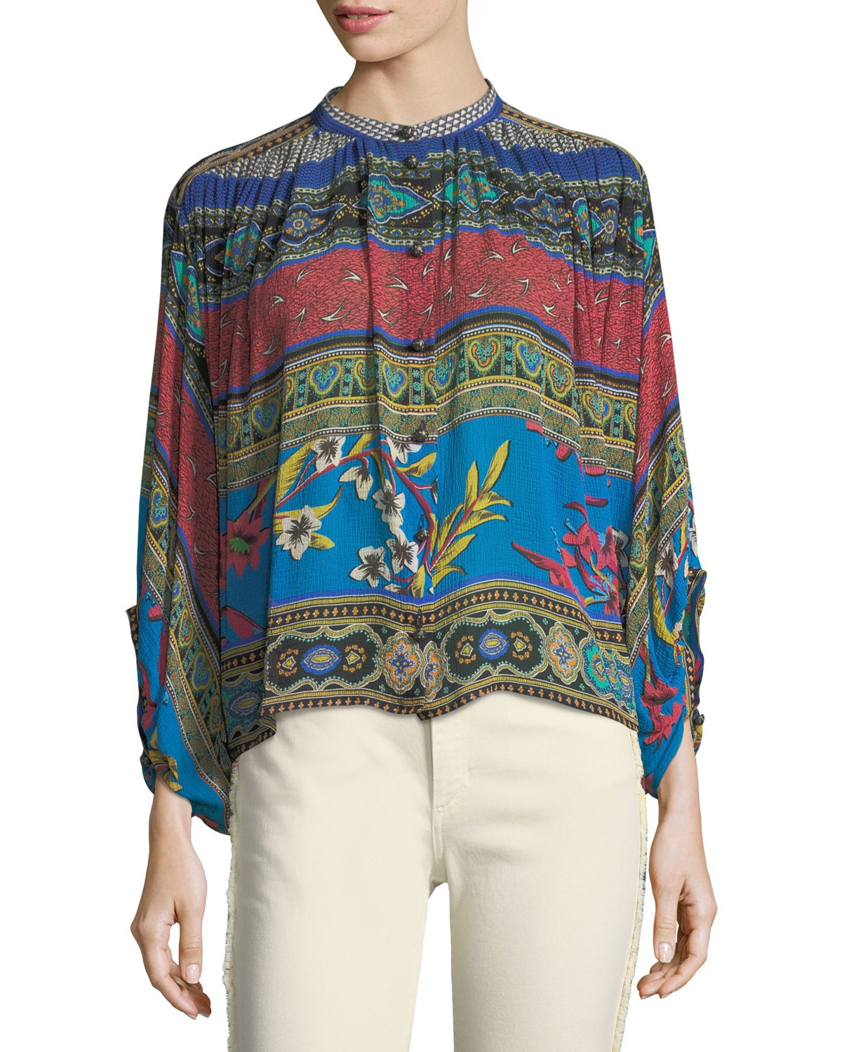 9e299079dfd Etro Ribbon Floral-Print Balloon-Sleeve Top