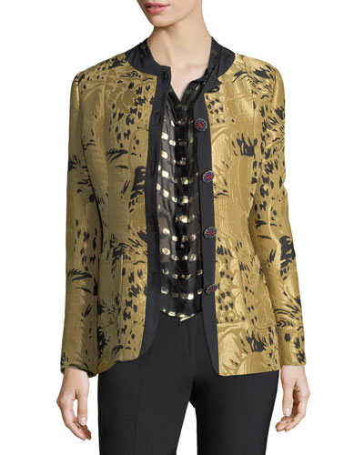 Golden Jacquard Jewel-Button Long-Sleeve Topper Jacket
