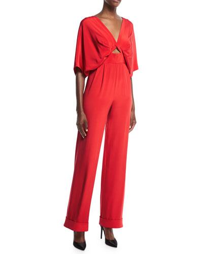 Red Canna Cape-Like Keyhole High-Waist Silk Crepe Jumpsuit