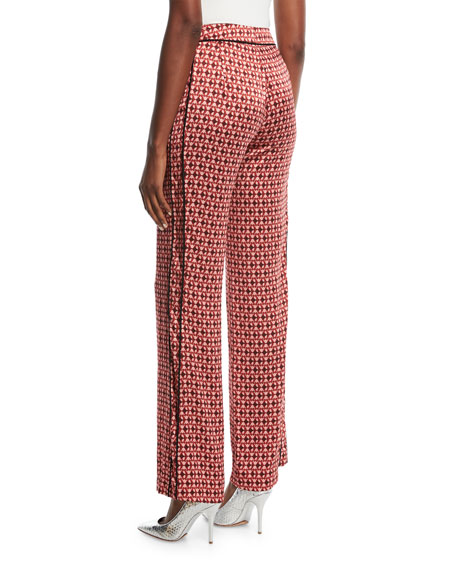 Acapulco Desert Tile-Print Straight-Leg Silk Satin Pants