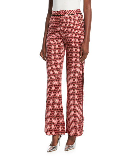 Johanna Ortiz Acapulco Desert Tile-Print Straight-Leg Silk Satin