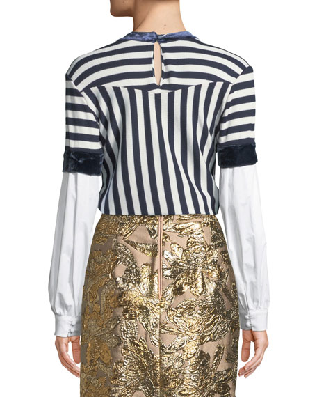 Long-Sleeve Mixed-Media Striped Knit Top