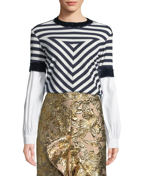 Johanna Ortiz Long-Sleeve Mixed-Media Striped Knit Top and