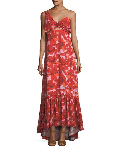 Cimarron Rose-Print One-Shoulder Long Cotton Poplin Dress