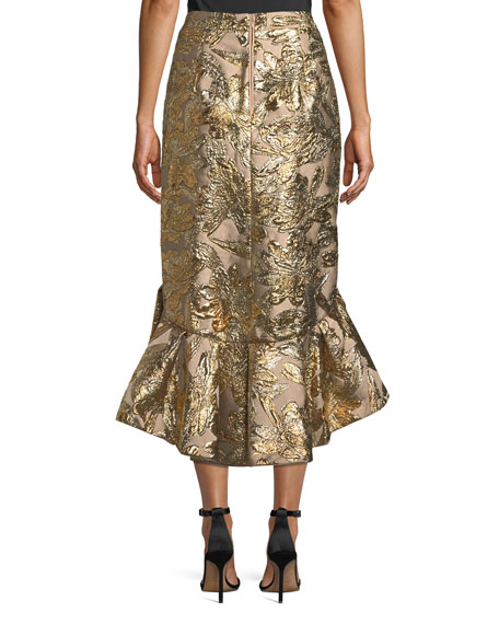 Metallic Jacquard Ruffle Evening Skirt