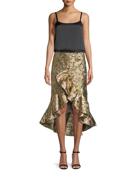 Metallic Jacquard Ruffle Evening Skirt