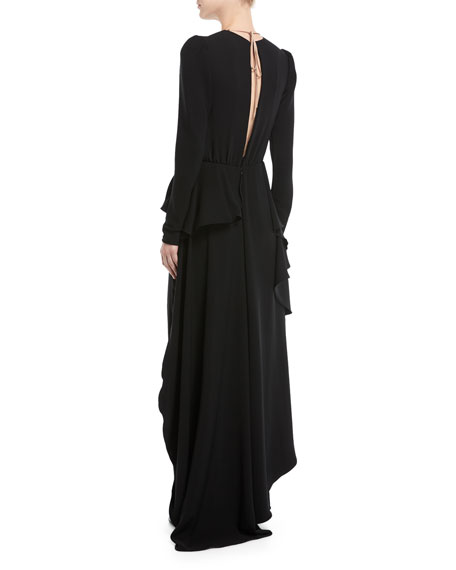 Kachina Plunging Lace-Front Straight-Leg Crepe Jumpsuit w/ Skirt