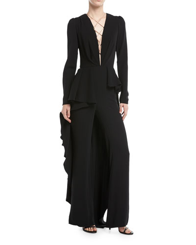 Kachina Plunging Lace-Front Straight-Leg Crepe Jumpsuit w/ Skirt